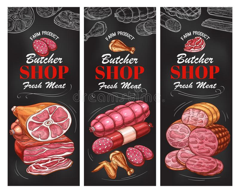 肉店肉制品和香肠横幅 库存例证