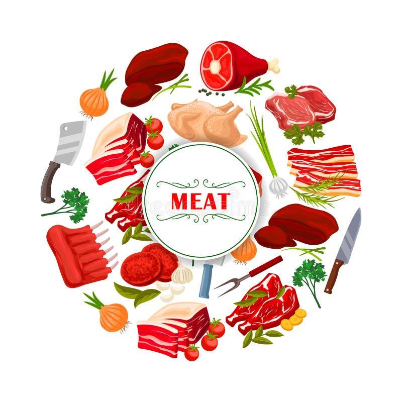 肉店肉或屠杀传染媒介海报 向量例证