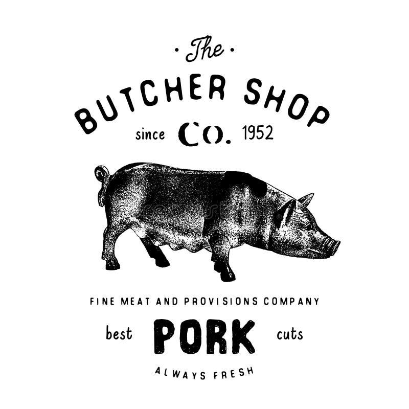 肉店葡萄酒象征猪肉产品,屠杀商标模板减速火箭的样式 略写法的,标签,徽章葡萄酒设计和 皇族释放例证