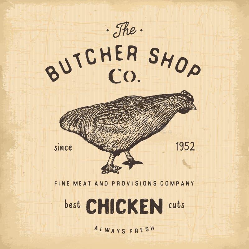 肉店葡萄酒象征, chiken肉制品,屠杀商标模板减速火箭的样式 略写法的,标签葡萄酒设计,证章a 皇族释放例证