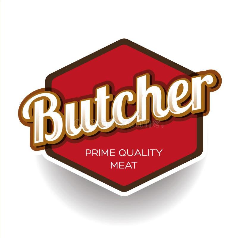 肉店设计元素、标签或者徽章 向量例证