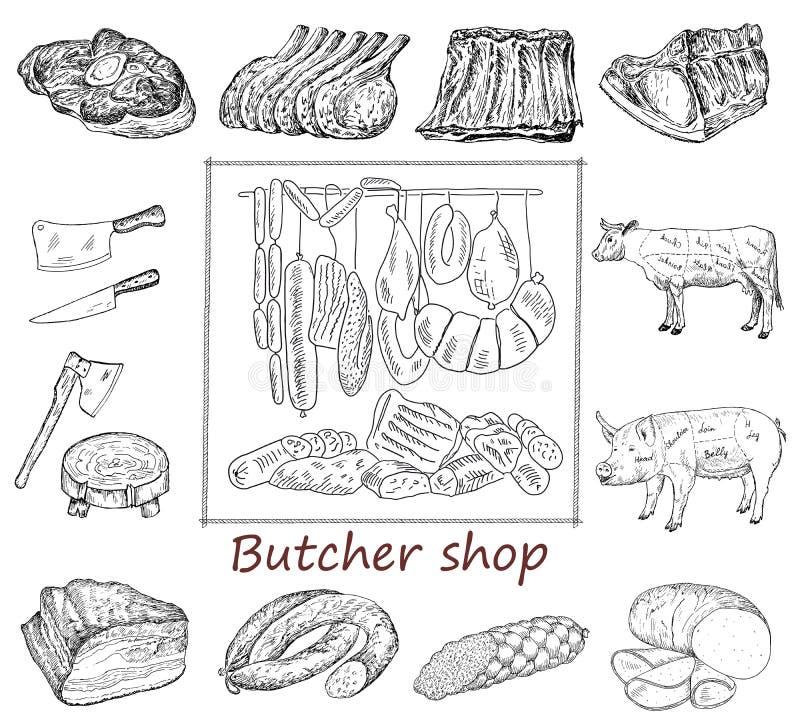 肉店集合 向量例证