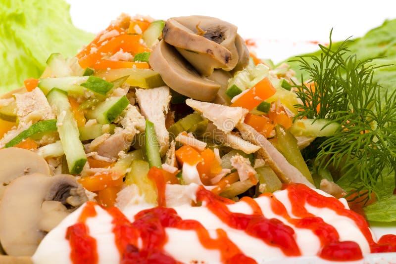 肉末大面包卷用蘑菇,隔绝在白色 免版税图库摄影