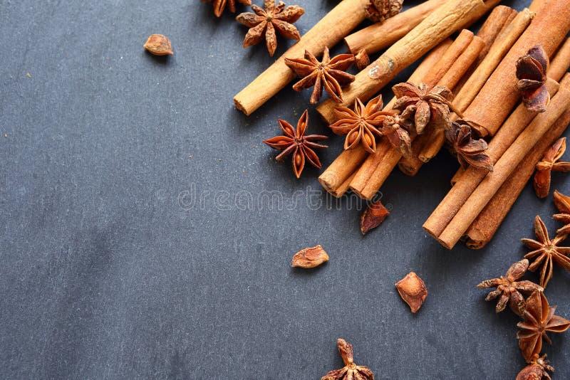 肉桂条和茴香 库存图片