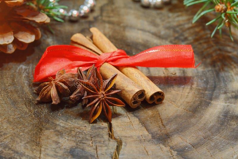 肉桂条,八角,圣诞节装饰 免版税库存照片