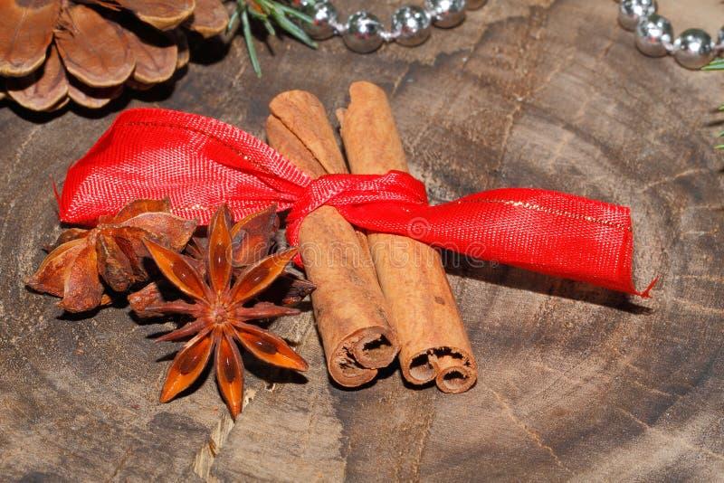 肉桂条,八角,圣诞节装饰 免版税库存图片