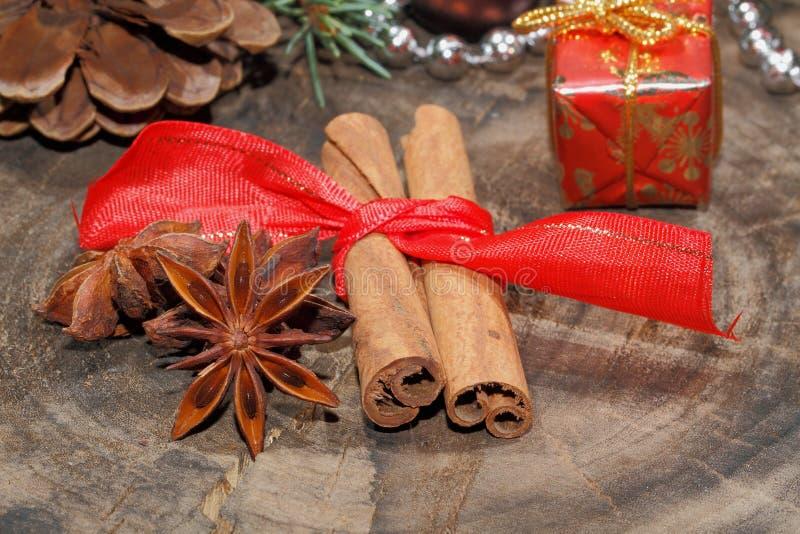 肉桂条,八角,坚果,圣诞节装饰 免版税库存图片