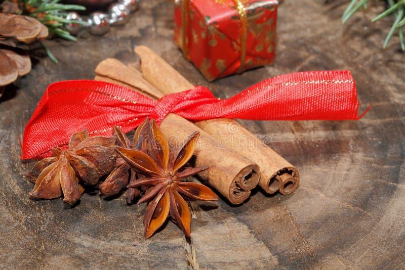 肉桂条,八角,坚果,圣诞节装饰 库存照片
