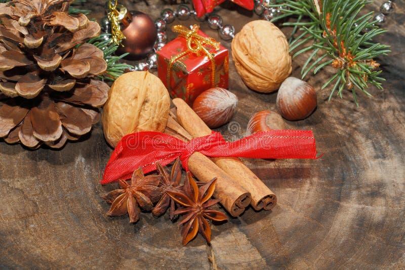肉桂条,八角,坚果,圣诞节装饰 免版税库存照片