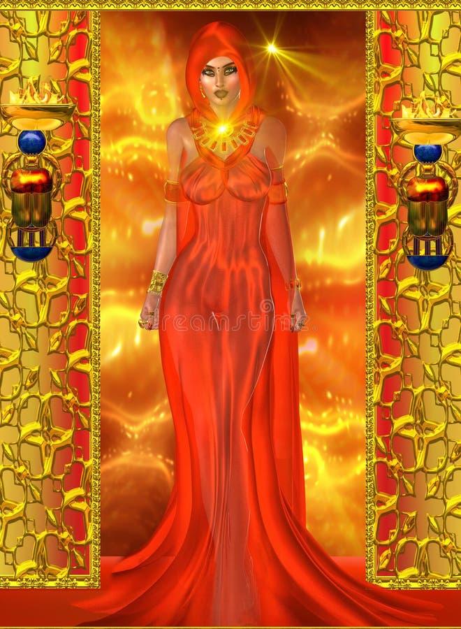 肉欲,红色的精神妇女 向量例证