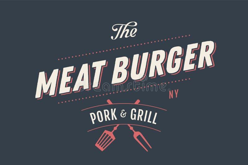 肉汉堡标签模板  库存例证