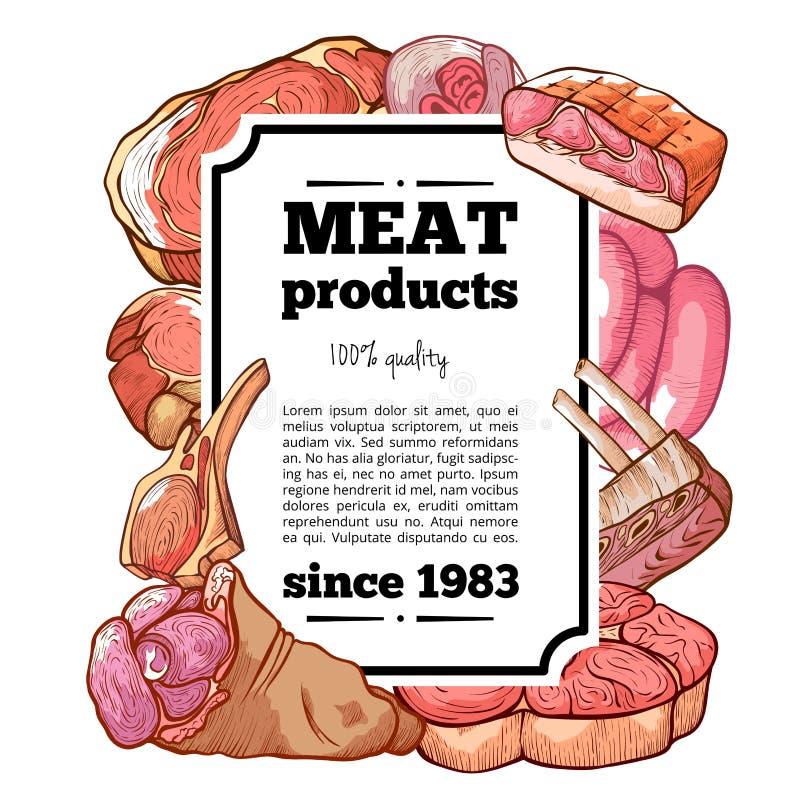 肉熟食与拷贝空间的产品横幅 皇族释放例证