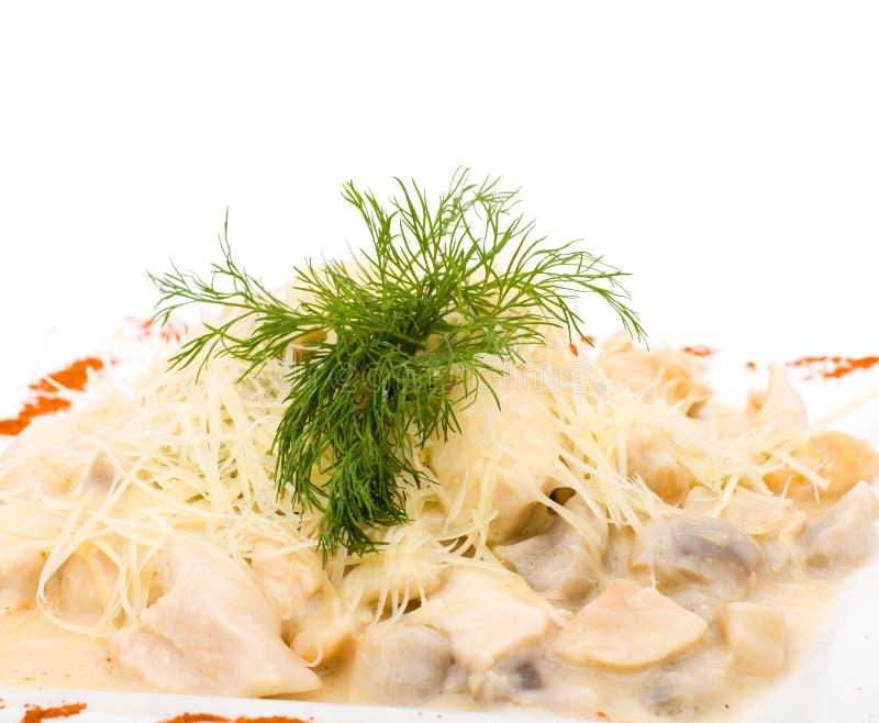 肉用蘑菇和酸性稀奶油 库存照片