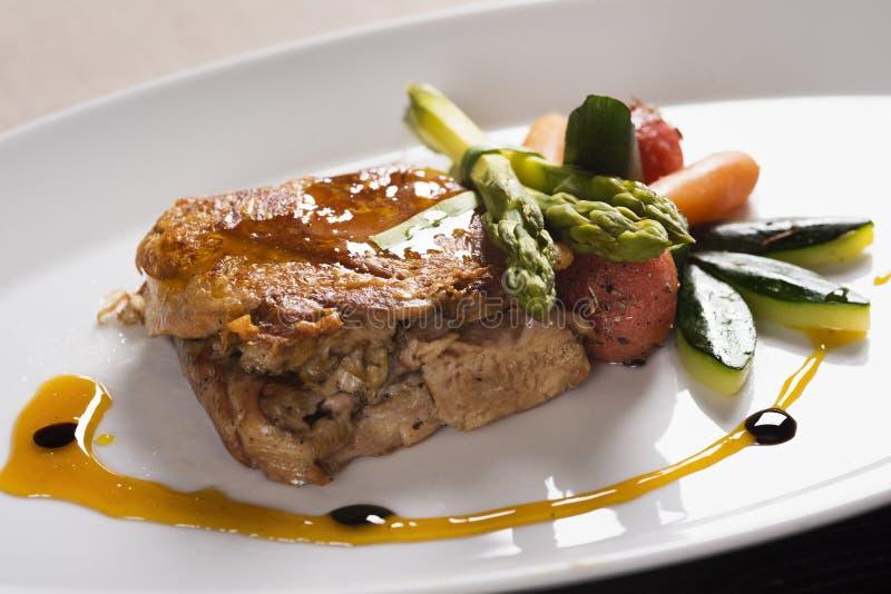 肉用调味汁和菜 免版税库存图片