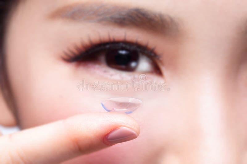 肉眼和隐形眼镜 免版税库存照片