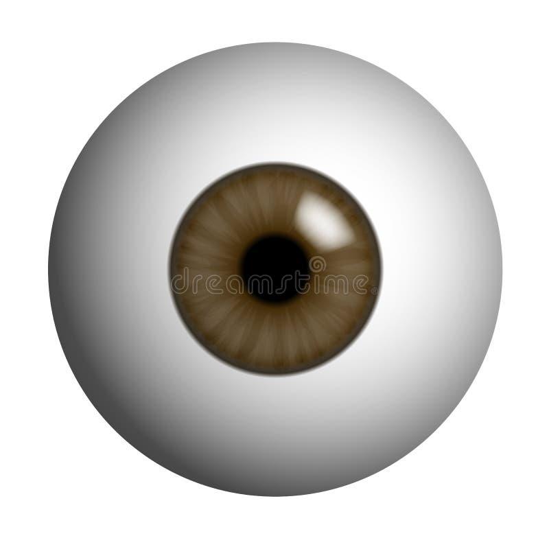 肉眼的现实例证与棕色虹膜、学生和反射的 隔绝在白色背景,传染媒介 向量例证