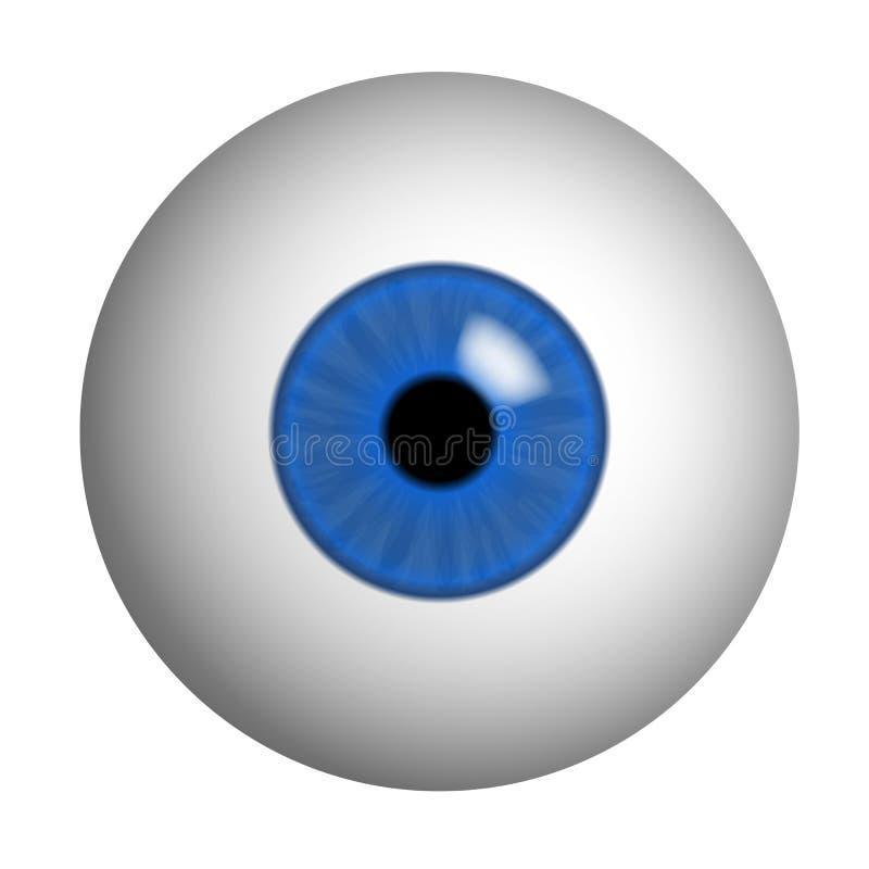 肉眼的现实例证与蓝色虹膜、学生和反射的 隔绝在白色背景,传染媒介 库存例证