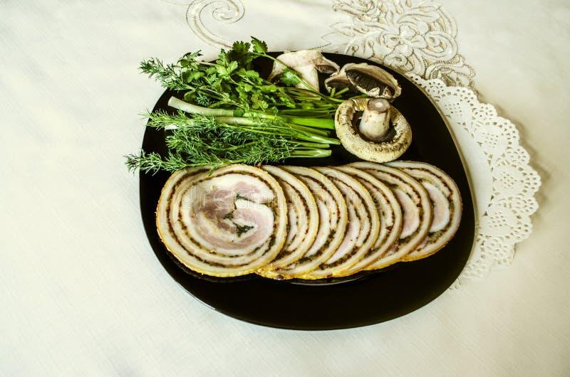 肉糕用熏制的猪里脊肉的调味品 库存图片
