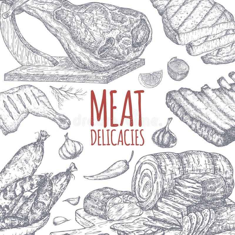 肉纤巧tamplate基于在手边被画的剪影 库存例证
