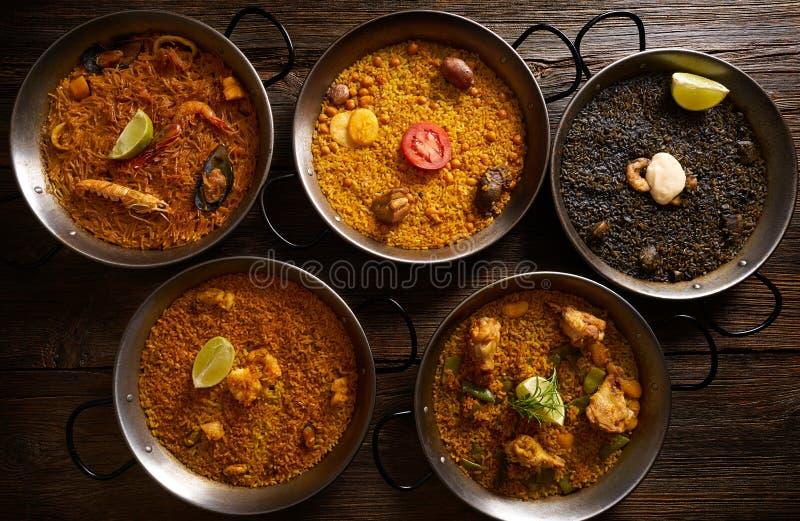 肉菜饭从西班牙的五份米食谱 免版税库存照片