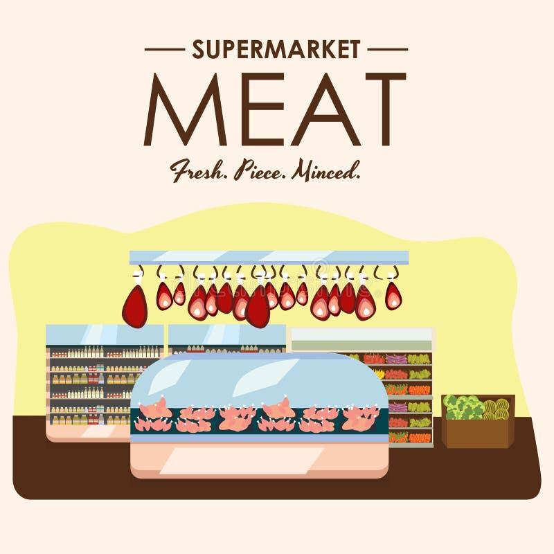 肉部门、猪肉架子用新鲜的牛肉和牛排食物在超级市场冰箱,有机农产品大选择  向量例证