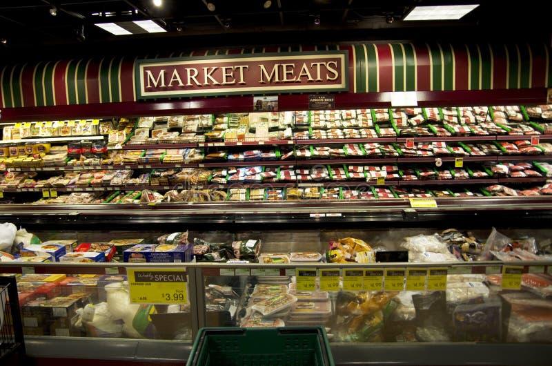 肉部门在超级市场 库存图片