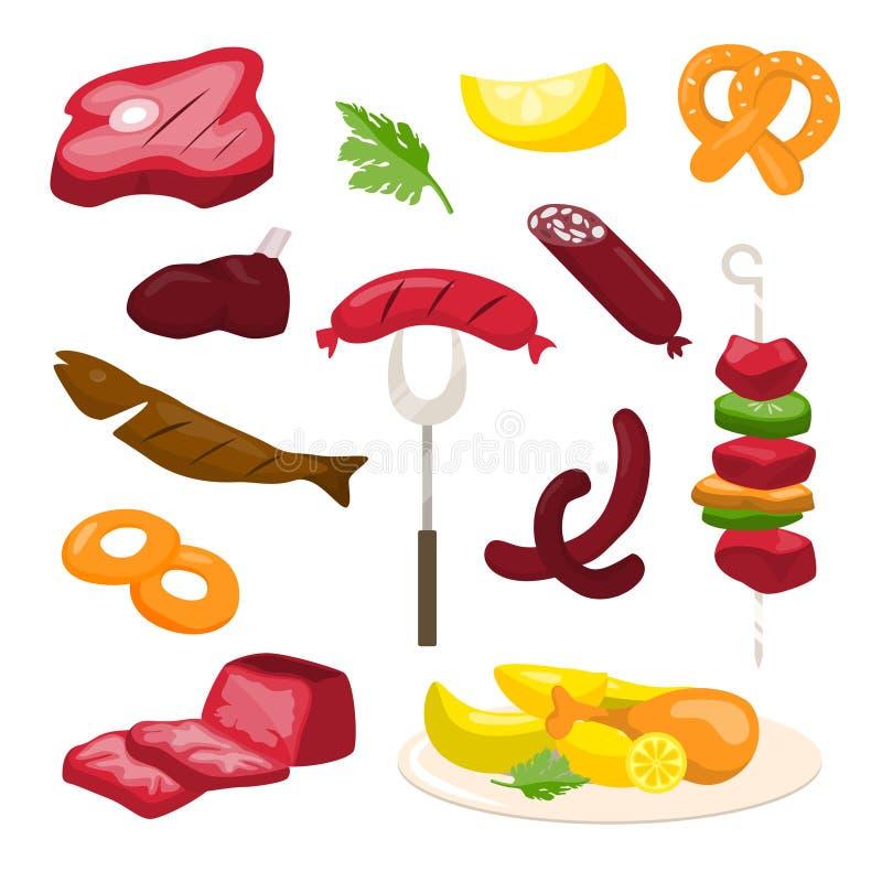 肉食物集合 库存例证