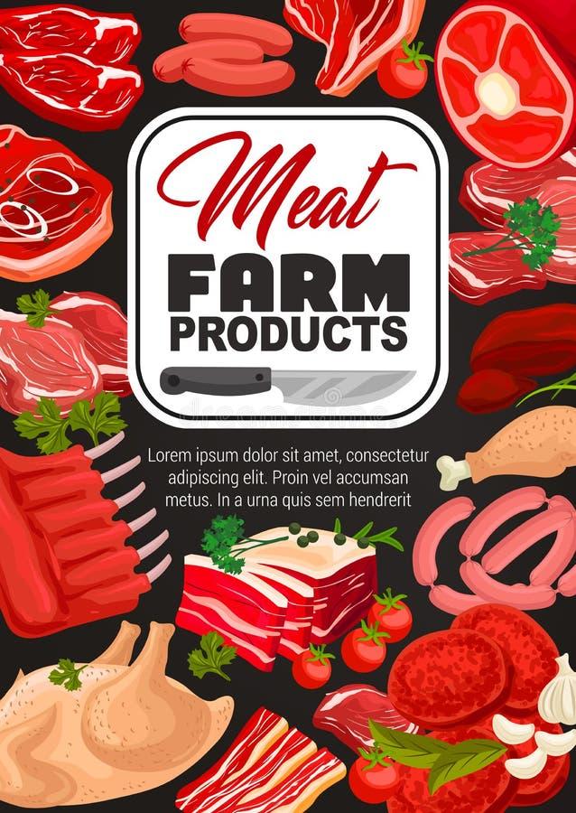 肉食物,猪肉,牛肉香肠,火腿,烟肉,鸡 库存例证