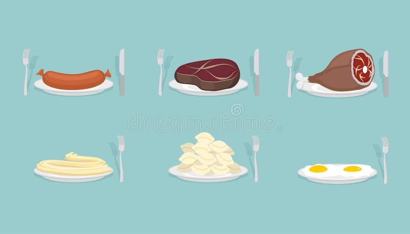 肉食物:香肠和饺子 火腿和牛排 背景怂恿煎蛋卷加扰的白色 库存例证