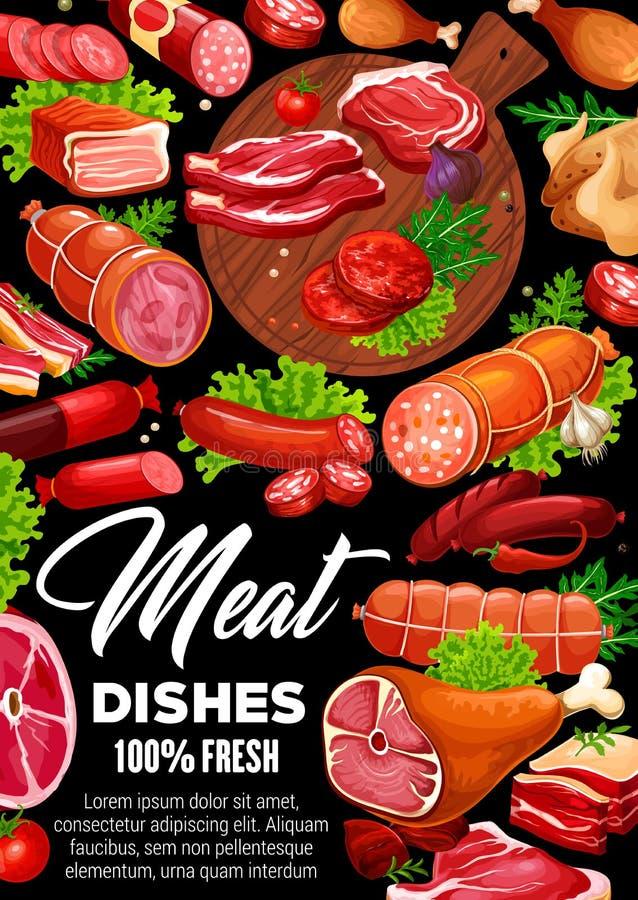 肉香肠、牛肉和猪肉牛排,鸡,火腿 库存例证