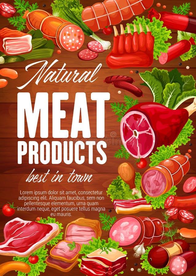 肉香肠用草本和蔬菜沙拉叶子 库存例证