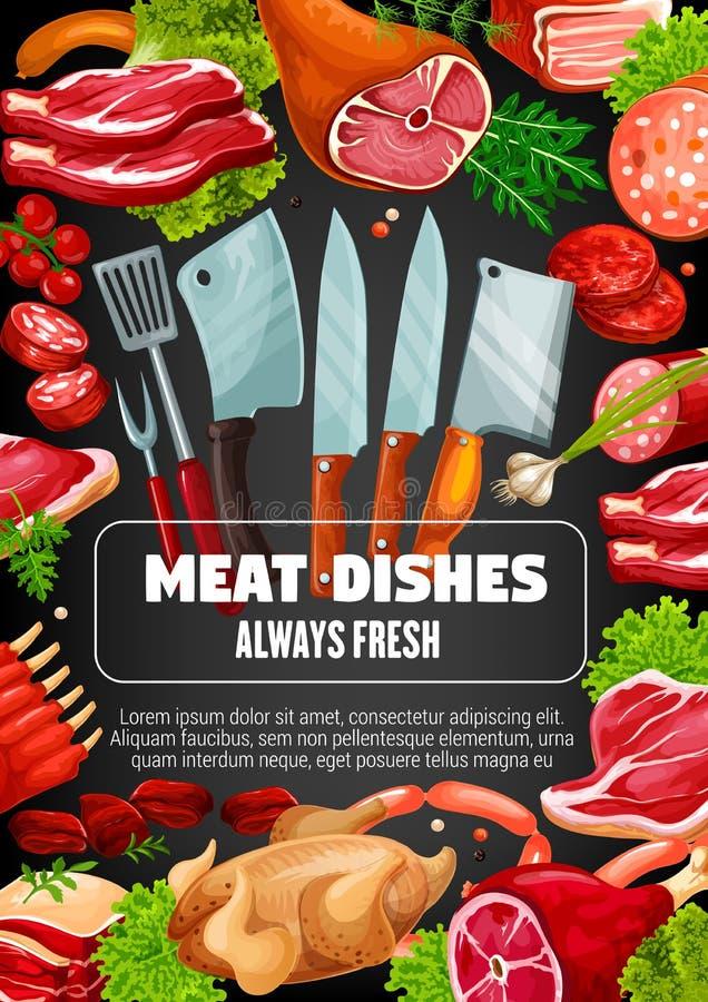 肉香肠盘,烹调利器的屠户 皇族释放例证