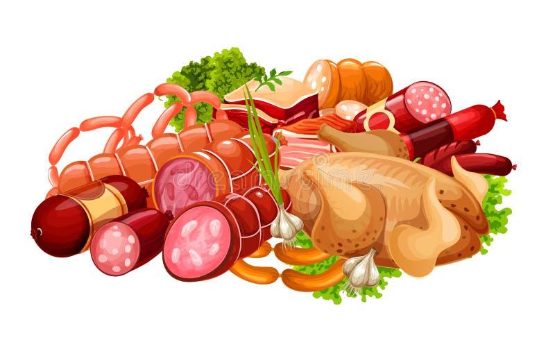 肉香肠,农夫肉店工作食物 库存例证