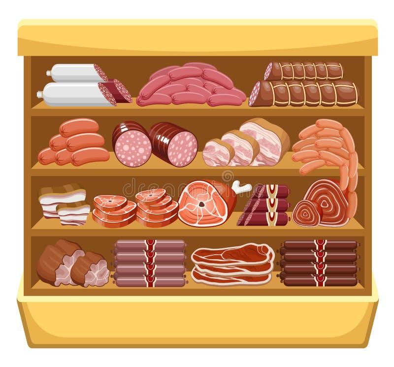 肉类市场。 库存例证