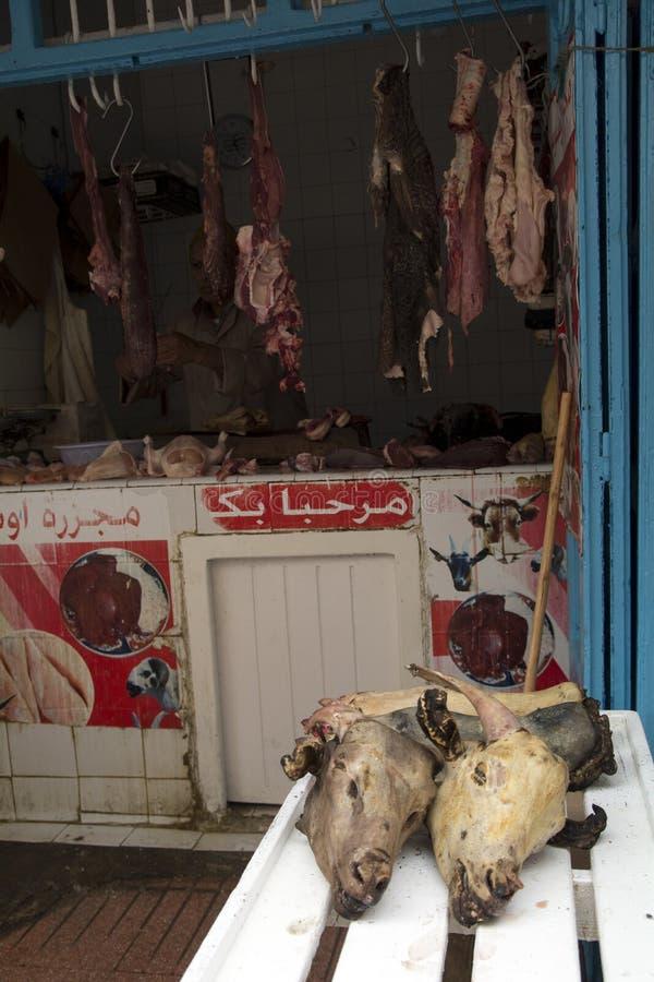 肉类市场,摩洛哥 屠户 免版税库存图片
