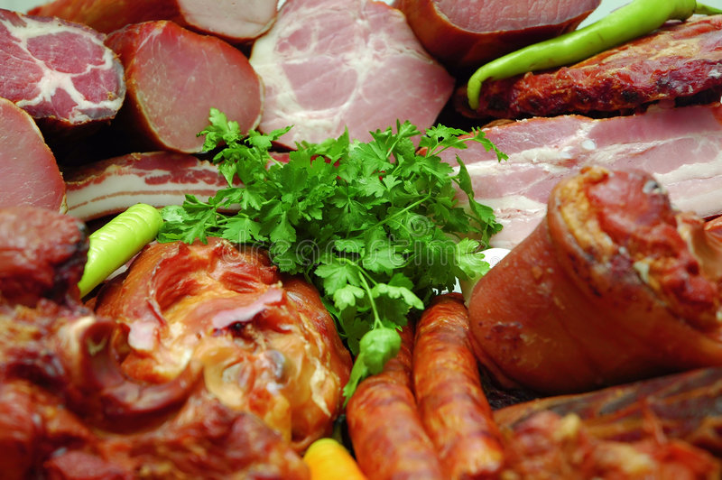 肉products2抽烟了 免版税库存照片