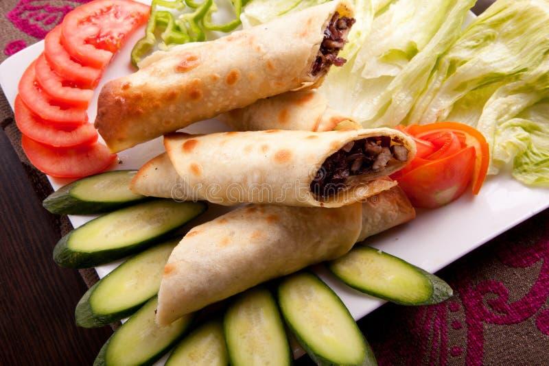 肉shawarma板材 免版税库存照片