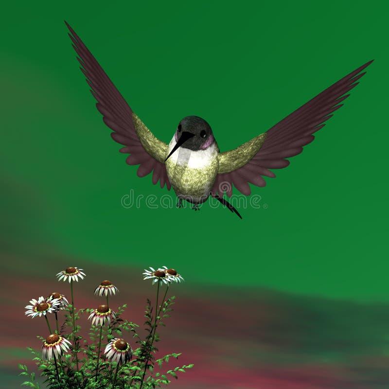 肋前缘的蜂鸟- 3D回报 库存例证