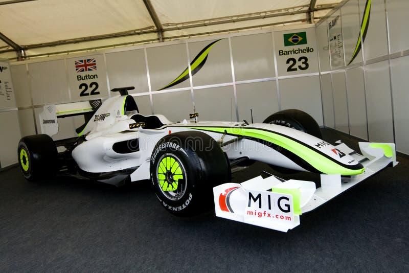 肌力汽车f1 gp赛跑 库存图片