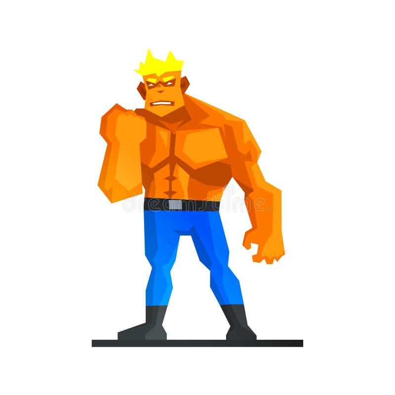 肌肉人显示他的力量传染媒介 皇族释放例证