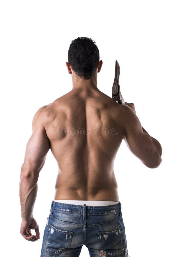 肌肉人有轴后面视图 免版税库存图片