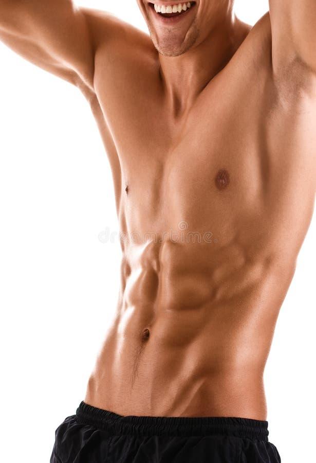 肌肉人的半赤裸身体 免版税图库摄影