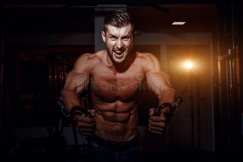 肌肉做在健身房的爱好健美者英俊的人锻炼与赤裸躯干 有腹肌和二头肌的坚强的运动人 免版税库存照片