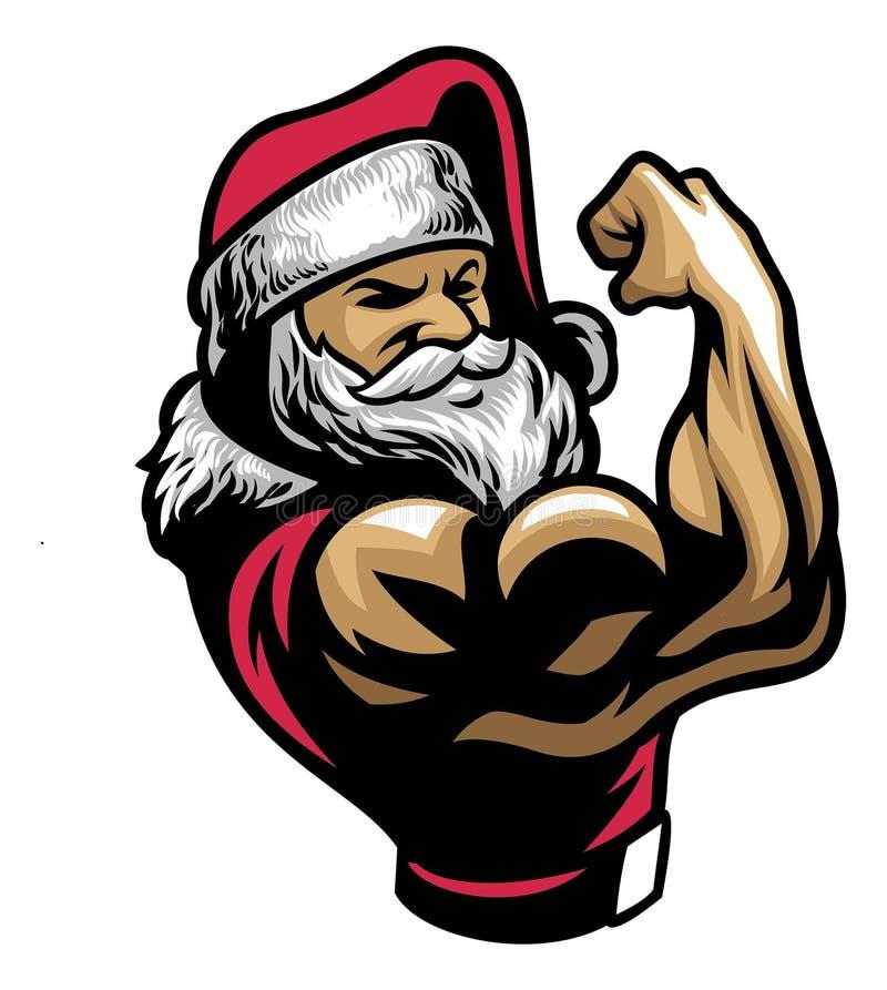 肌肉圣诞老人展示他的二头肌胳膊 皇族释放例证