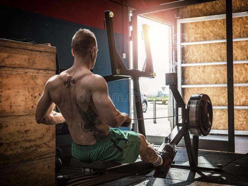 肌肉年轻人,训练在划船器 库存照片