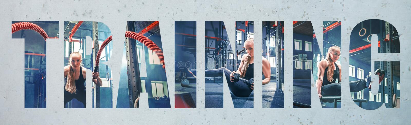 肌肉年轻女运动员,创造性的拼贴画 免版税库存图片