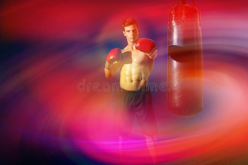 肌肉拳击手的综合图象 免版税图库摄影
