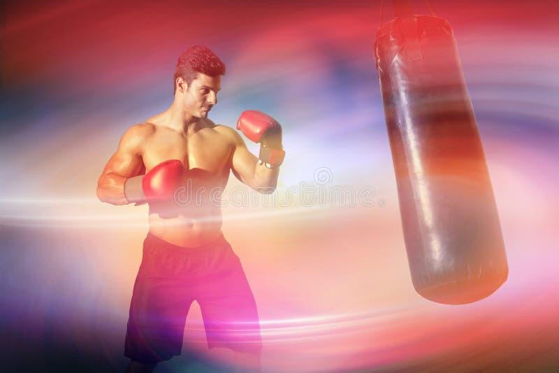 肌肉拳击手的综合图象 免版税库存图片