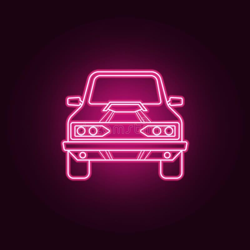 肌肉汽车前面霓虹象 巨足兽汽车集合的元素 r 库存例证