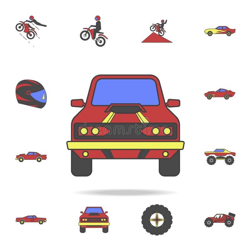 肌肉汽车前面领域coloricon 详细的套颜色大脚汽车象 优质图形设计 其中一个汇集象 向量例证